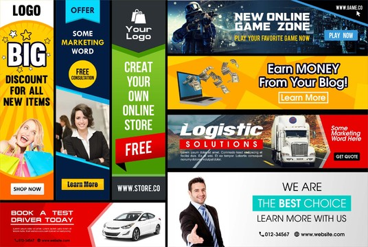 I will design banner ads, cover, and header