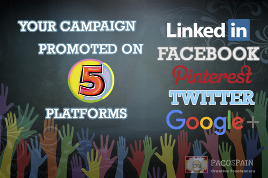 I will share your crowdfunding campaign on Twitter and Facebook 320x plus 3 other platforms