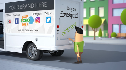 Create  3d Animation video intro with your logo on truck branding