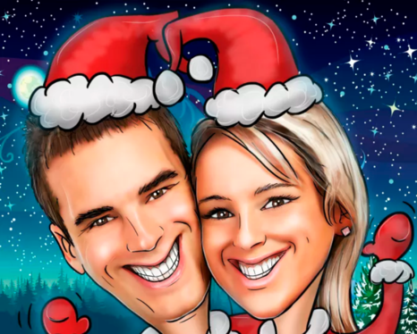 Draw Custom Christmas Card, Christmas Cartoon Caricature