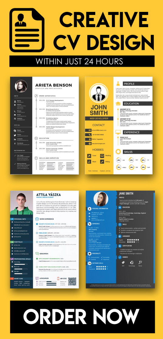 I will write & design creative & professional CV within 24 hours