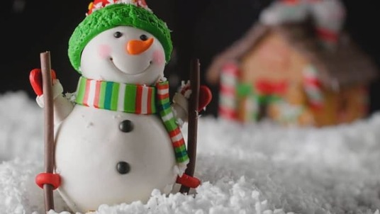 make video Christmas New Year Greeting Card with Snowman logo reveal intro