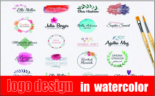 I will Design Floral Feminine Watercolor Hand Drawn Logo