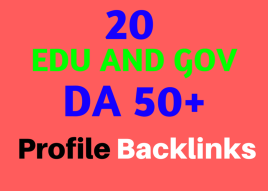 I will Do Permanent 20 Edu and Gov DA50 Most Trusted Profile Backlinks