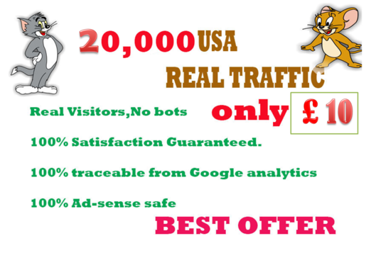I will 20,000 USA real traffic BY Google,Twitter ,Youtube and any more to web site