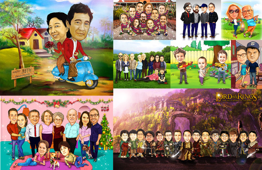 I will make family or couple caricature