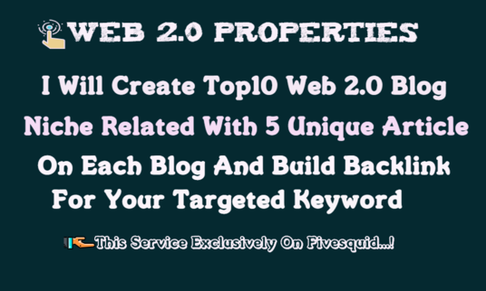 I will Create Top 10 web 2.0 Backlink With Unique Article