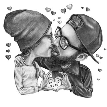 Draw Romantic Couple Caricature With Graphite Pencil For 20