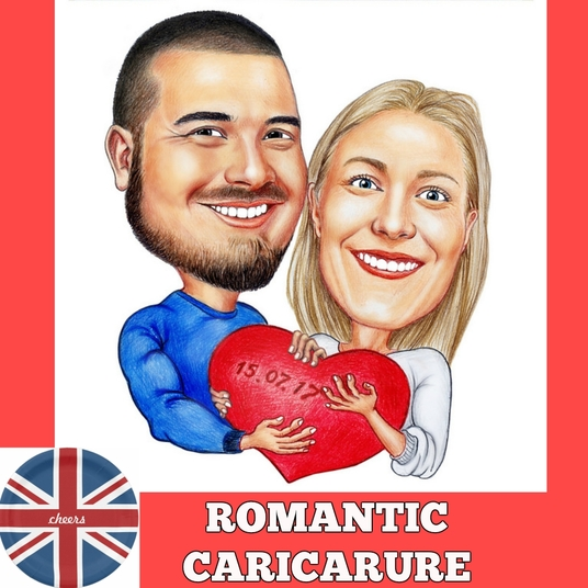 I will draw colored couple caricature