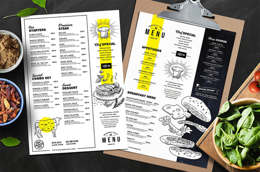 design an eye catching flyer or food menu (one side) for your restaurant, coffee shop