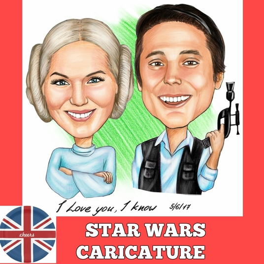 I will draw a funny Star Wars Couple Caricature from photo in colored pencils