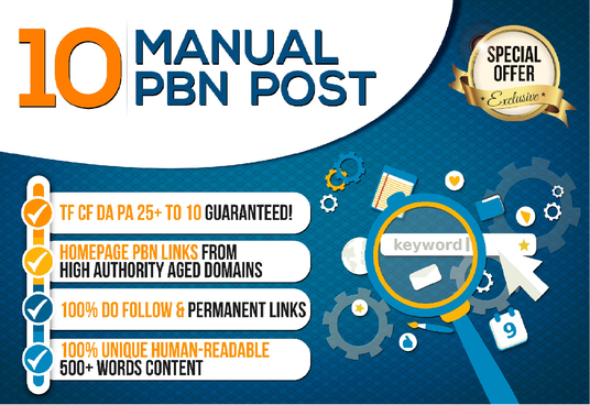 I will Do 10 Manual High Tf Cf Da Pa 25 Dofollow Pbn Backlinks
