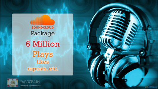 I will do 6 million SoundCloud views , likes, post, re-posts and followers - cheapest package eve