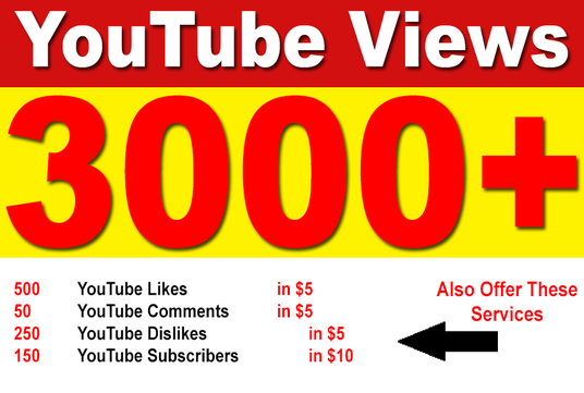 I will add 3000 High Retention Permanent YouTube Views