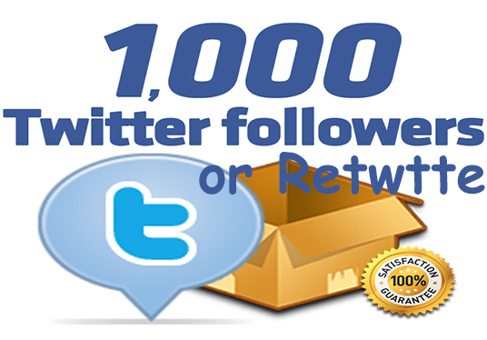 I will give you 1000 twitter followers or retweets targeted country high quality