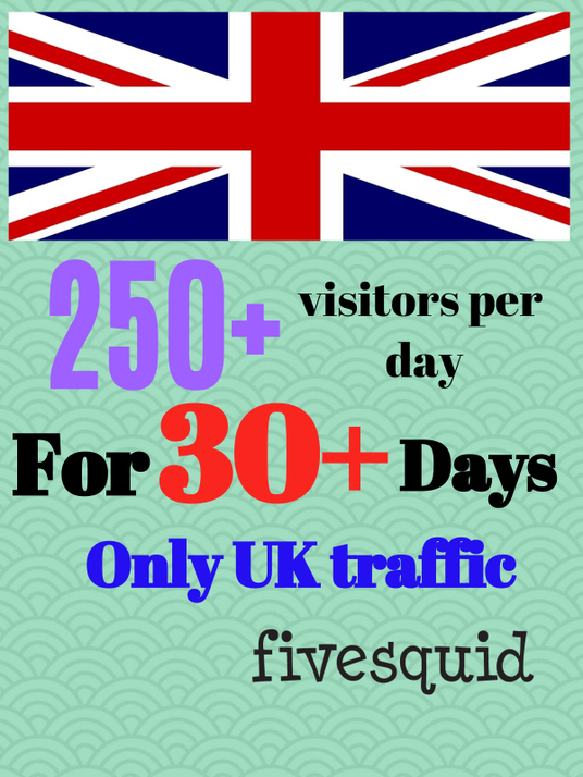 I will send 250+/- UK visitors per day for 30 days