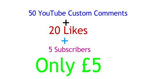I will  Give You 50 YouTube Custom Comments 20 Likes 5 Subscribers Your Video