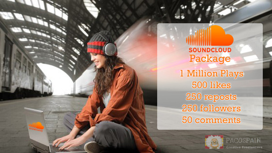 I will do this SOUNDCLOUD Package: 1 MILLION+ Plays, 500 likes, 250 reposts 250 followers 50 comm