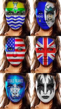 do face paint of any logo, tattoo or flag