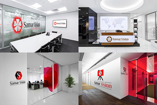 I will replicate your logo on 10 realistic offices spaces