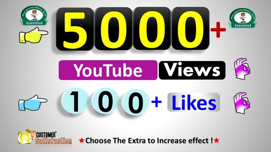 Add 5,000 Views  & 100 Likes  in YouTube, non Drop Real Active User Guaranteed