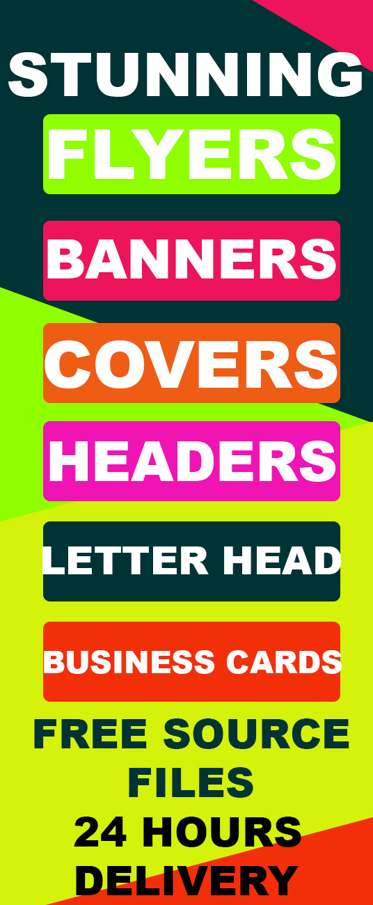 I will Design Stunning Flyers, Banners, Covers, Headers, Letter Head and Business Cards