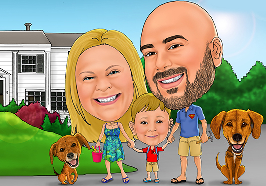 I will create lovely digital family caricature
