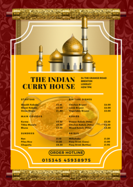 create a Professional A5 Food and Drink Industry Menu Price List Design Single Sided