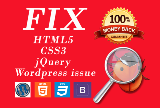 I will fix html5, css3, and WordPress issues