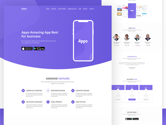 I will Design an app  landing page