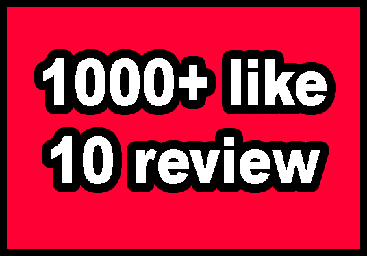 I will give 1000+  Facebook page like with 10 page review and 10 Social Share