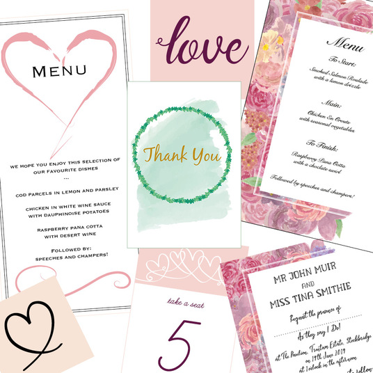 I will design a range of bespoke wedding stationery for your big day. Unique, personalised on pap