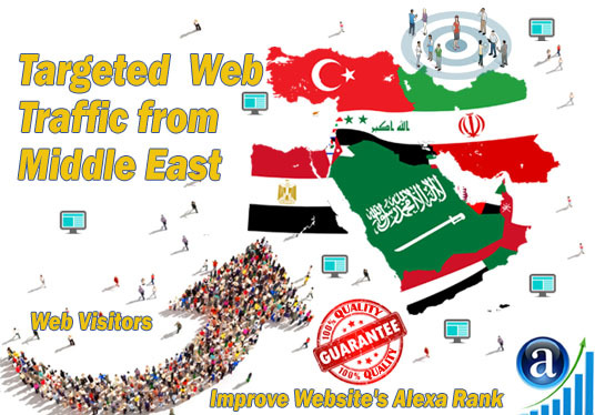 I will send 25000 web visitors targeted organic traffic from Middle East