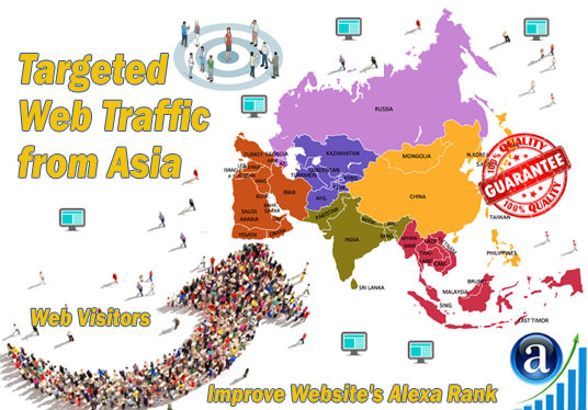 I will send 25000 web visitors targeted organic traffic from Asia