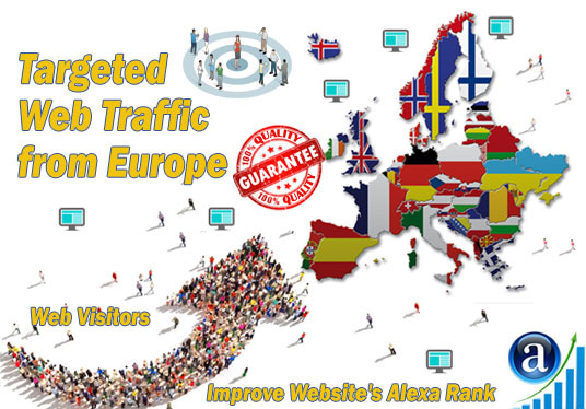 send 25000 web visitors targeted organic traffic from Europe