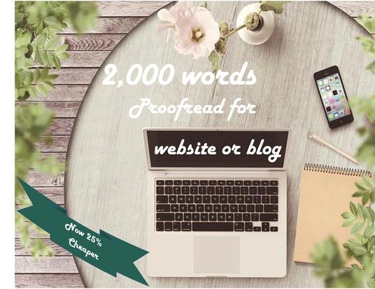 I will expertly proofread and edit up to 2,000 words of text for your website or blog