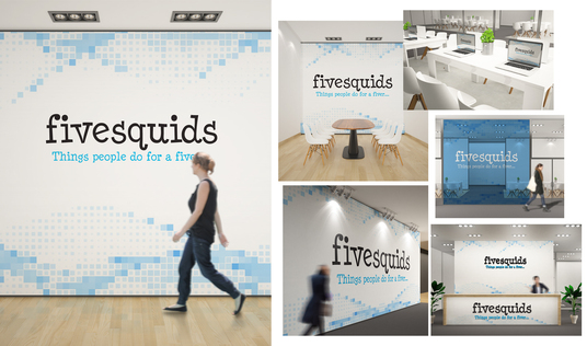 I will design 8 realistic office interior branding logo mockups