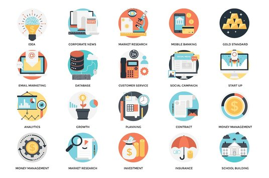 send you 300 flat business icons