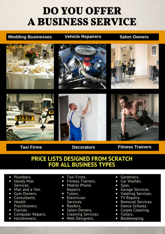 I will create a professional price list for your company or business service single sided
