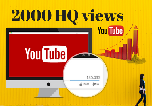 I will add 2000 HQ YouTube views Real human worlwide