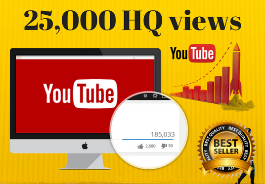 I will add 25,000 HQ YouTube views Real human worlwide