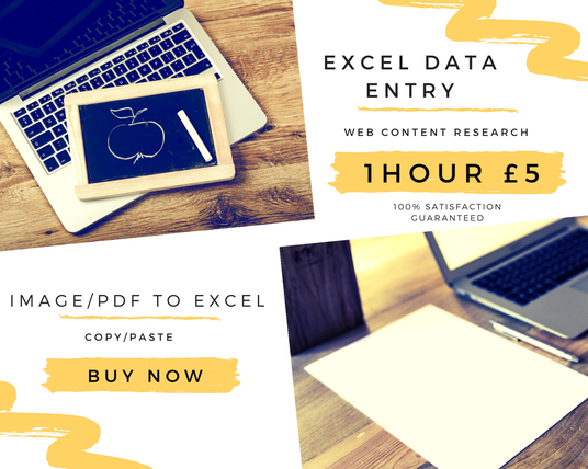 I will Do Data Entry In Excel Or Google Spreadsheet For 1 Hour
