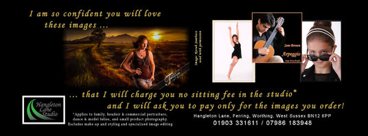 I will provide a 30 minute photo shoot in my studio (and give you the 5 back if you are not satis