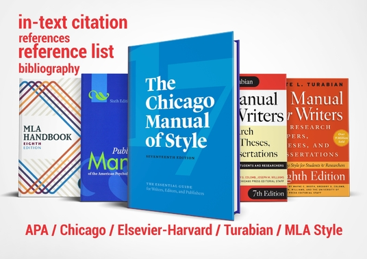 I will create citations and reference list/bibliography in APA, Chicago, Turabian, Elsevier-Harva