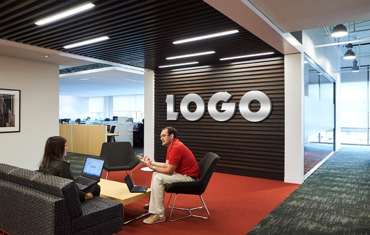 I will Mockup Your Logo On 08 Office Wall Realistically