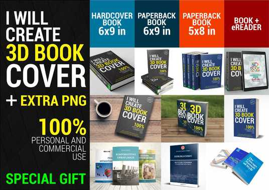 I will convert your 2D book cover in 3 different 3D Book cover styles