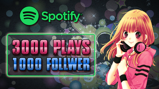 provide 3000 spotify music plays and 1000 real spotify followers