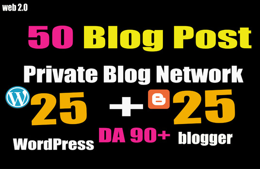 I will 50 PBN- Blog POST WordPress and Blogger 90 High DA
