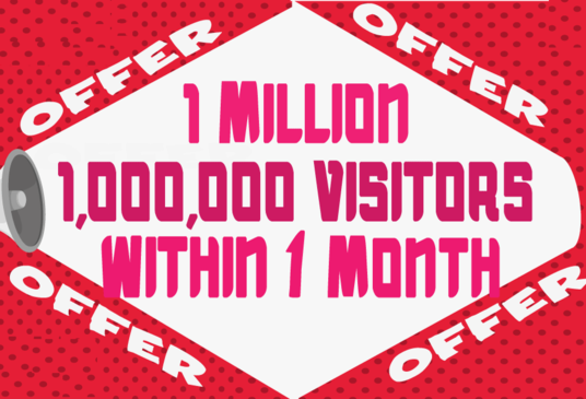 I will Provide 1 Million  Visitors Traffic Within 1 Month