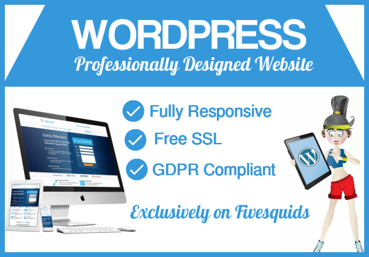 design a stunning wordpress website with  free hosting for 1 year